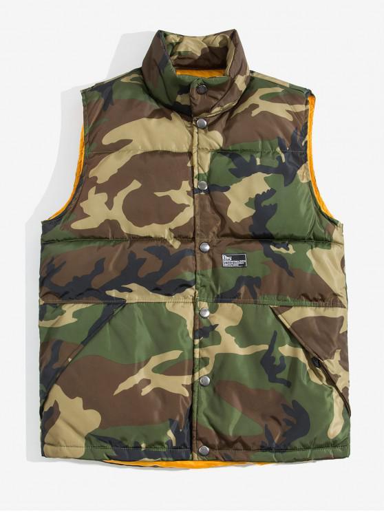 Camouflage Bedruckte Weste mit Knopf - Armeegrün L