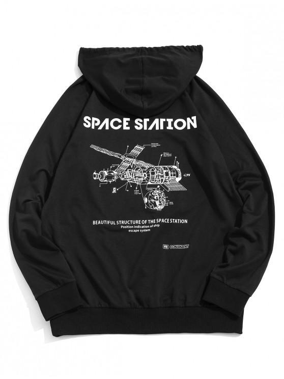 best ZAFUL Space Station Graphic Print Raglan Sleeve Hoodie - BLACK 2XL