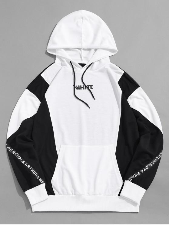 online ZAFUL Color Blocking Spliced Letter Graphic Casual Hoodie - MULTI S
