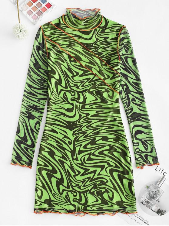 lady ZAFUL Contrast Stitching Mesh Mock Neck Bodycon Dress - MULTI S
