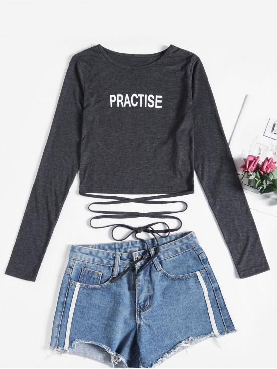 shops ZAFUL Practise Graphic Straps Tie Short Tee - GRAY L
