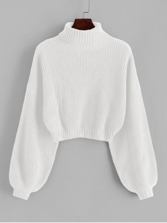 shop ZAFUL Turtleneck Lantern Sleeve Cropped Sweater - WHITE S