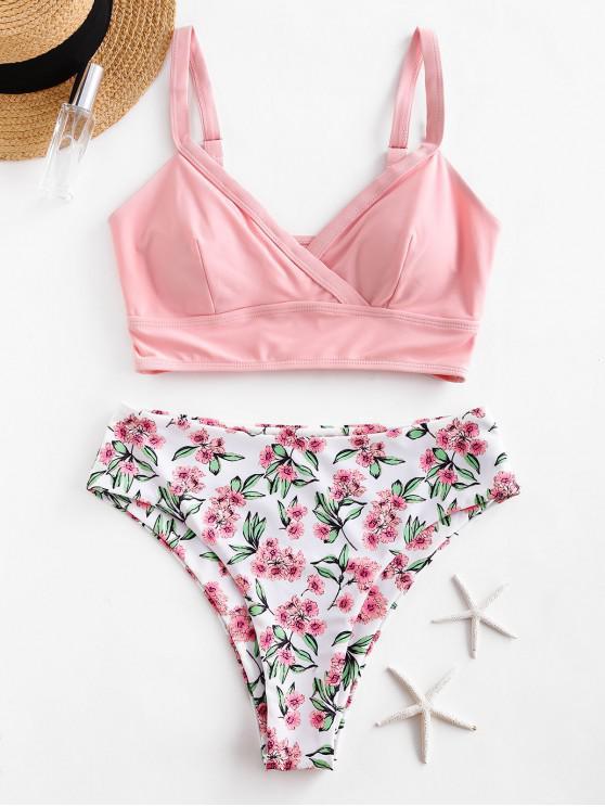 trendy ZAFUL Floral Surplice High Cut Tankini Swimsuit - PINK L