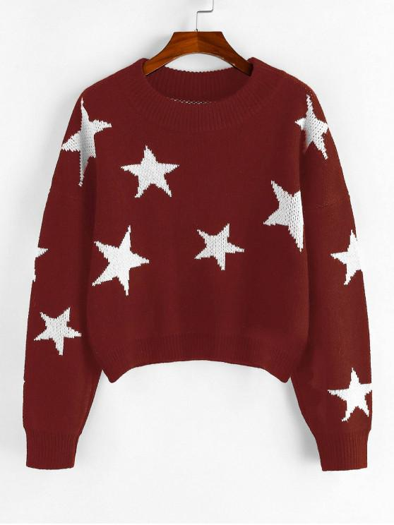 outfit ZAFUL Star Drop Shoulder Jumper Sweater - RED WINE L