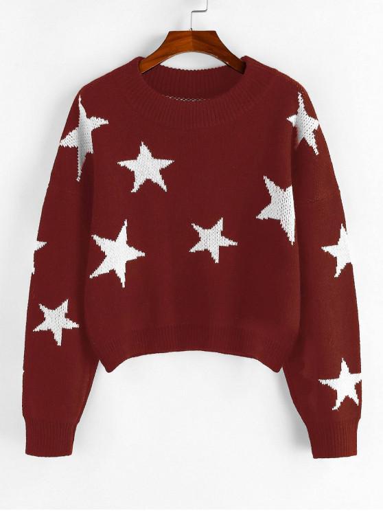 women ZAFUL Star Drop Shoulder Jumper Sweater - RED WINE S