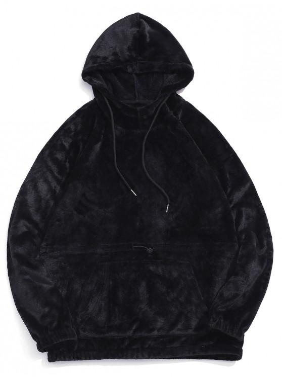 fancy ZAFUL Solid Drawstring Raglan Sleeve Casual Hoodie - BLACK M