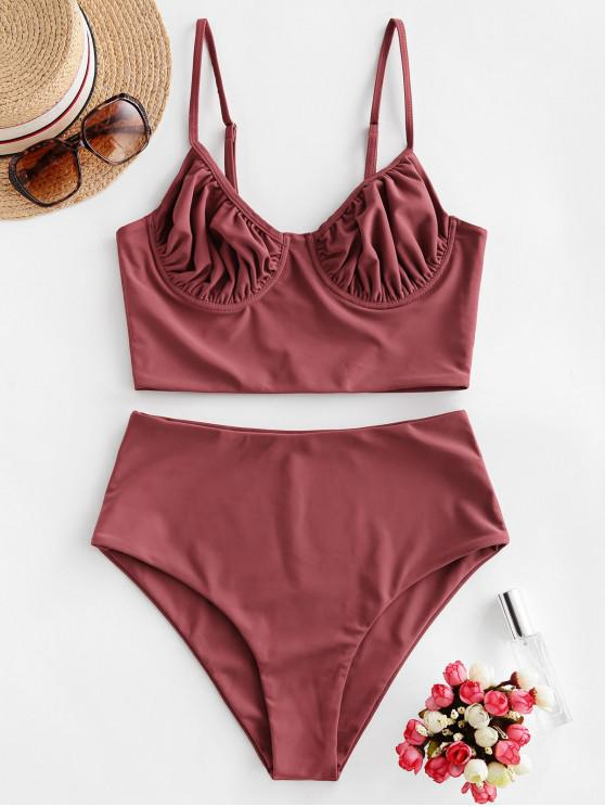 unique ZAFUL Underwire Ruched Tankini Swimsuit - CHERRY RED S