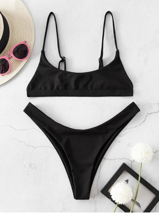 ZAFUL Bikini Bralette Acanalado de Corte Alto - Negro M