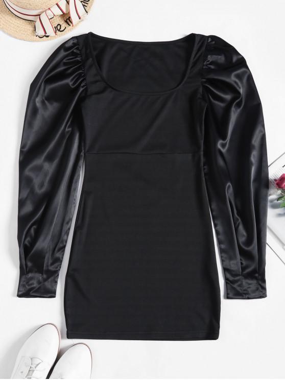 lady Satin Puff Sleeve Square Neck Short Dress - BLACK L