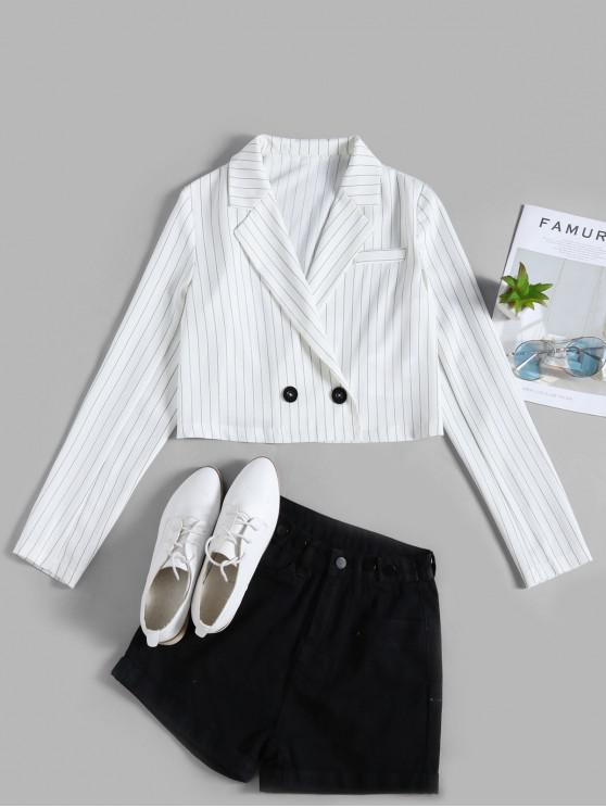 buy ZAFUL Striped Button Embellished Crop Blazer - WHITE XL