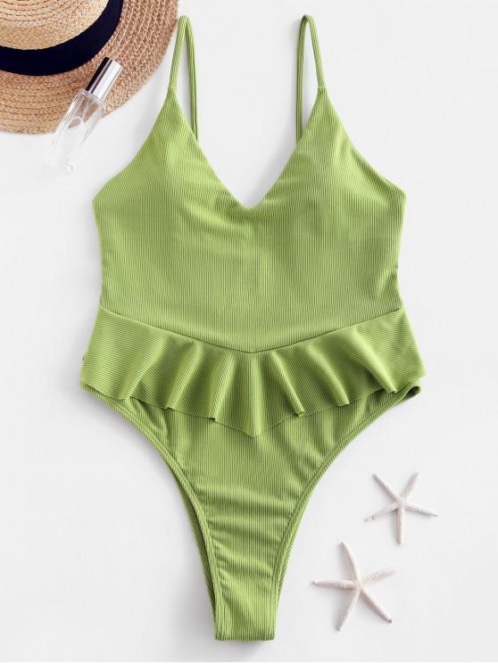 women ZAFUL Ribbed Flounce High Cut Peplum Swimsuit - LIGHT GREEN L