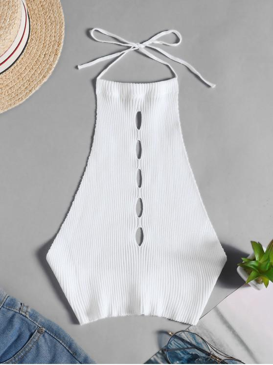 affordable Halter One Buttoned Cut Out Knitted Crop Top - WHITE ONE SIZE