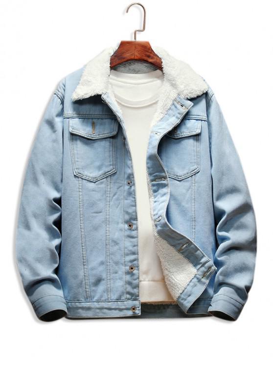 online Faux Fur Lined Button Up Denim Jacket - LIGHT BLUE XS