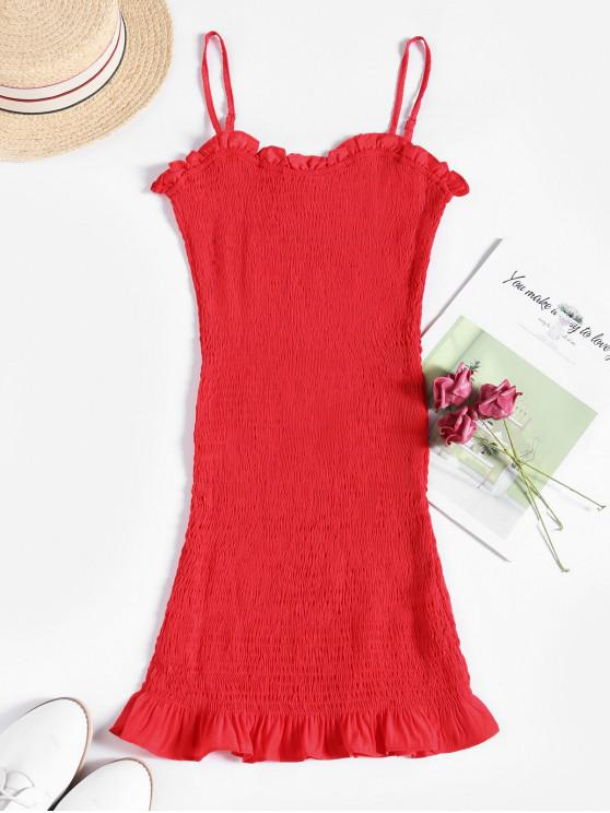 online Cami Frilled Trim Smocked Mini Dress - RED L