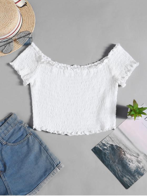 womens ZAFUL Frilled Off The Shoulder Smocked Top - WHITE S