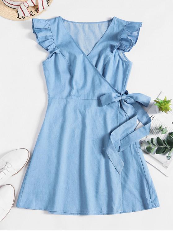 latest ZAFUL Ruffle Chambray Wrap Dress - DENIM BLUE XL