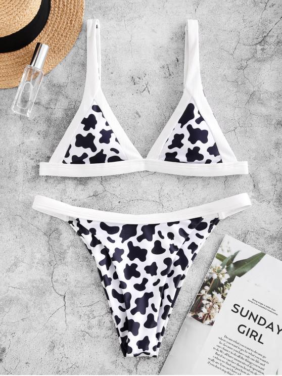 affordable ZAFUL Cow Print High Cut Ribbed Detail Bikini Swimsuit - WHITE S