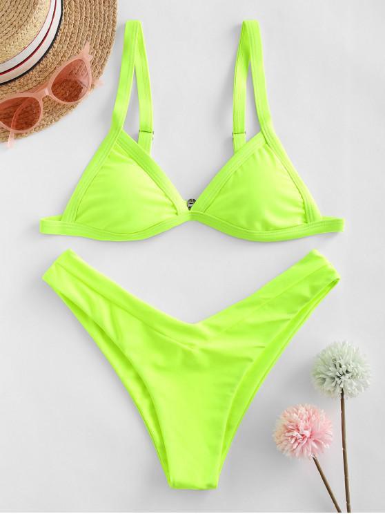 ZAFUL النيون السامي قص مبطن ملابس السباحة بيكيني - أخضر أصفر S
