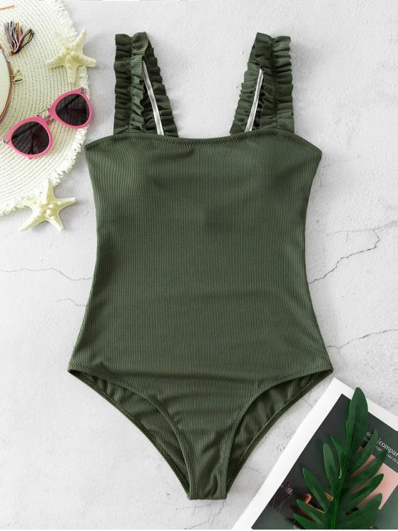 lady ZAFUL Ribbed Frilled Square Neck One-piece Swimsuit - HAZEL GREEN S