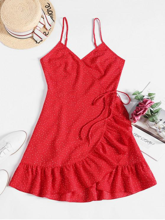 new ZAFUL Ditsy Dot Cami Flounce Wrap Dress - RED S