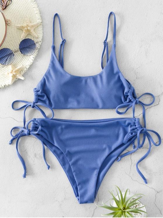 sale ZAFUL Ribbed Tie High Cut Bikini Swimsuit - SKY BLUE L