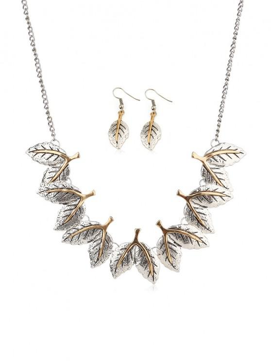 fancy Ethnic Leaves Shape Carved Jewelry Set - SILVER