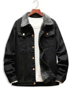 Faux Fur Lined Button Up Denim Jacket - Black L