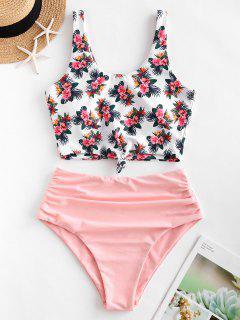 ZAFUL Flower Print Knotted High Cut Tankini Swimsuit - Pink Xl