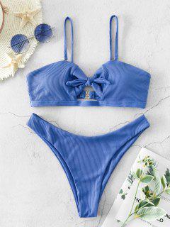 ZAFUL High Cut Ribbed Knot Bikini Swimsuit - Blue S