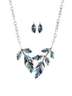Leaves Shape Rhinestone Pendant Jewelry Set - Silver