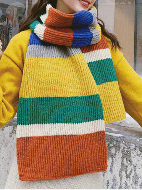 Цветной блок Полосатый принт Вязаный Длинный Шарф - Тигр-оранжевый  Mobile