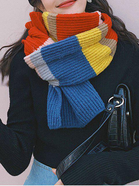 Цветной блок Полосатый принт Вязаный Длинный Шарф - Синий  Mobile