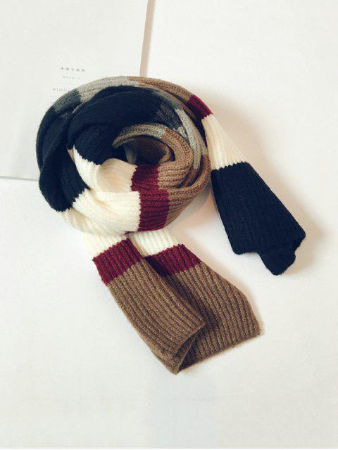 Rayas de color de bloqueo de punto bufanda larga - Negro  Mobile