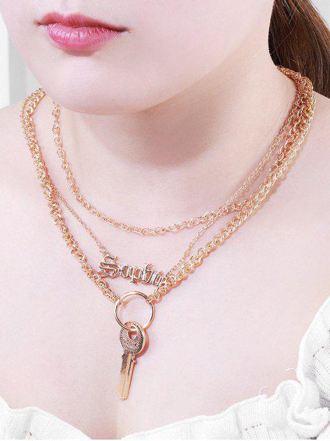 Buchstabe Schlüsselanhänger Geschichtete Halskette - Gold  Mobile
