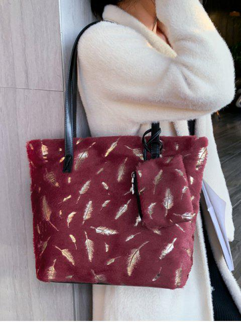 羽毛絨單肩手提包 - 紅  Mobile