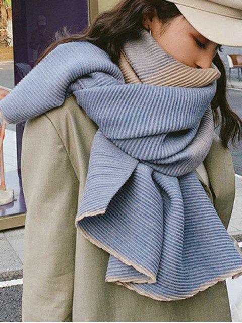Echarpe Longue Plissée Rayée Dégradée - Bleu-gris  Mobile