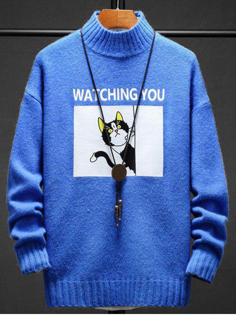 卡通貓字母印花套頭衫毛衣 - 道奇藍 L Mobile