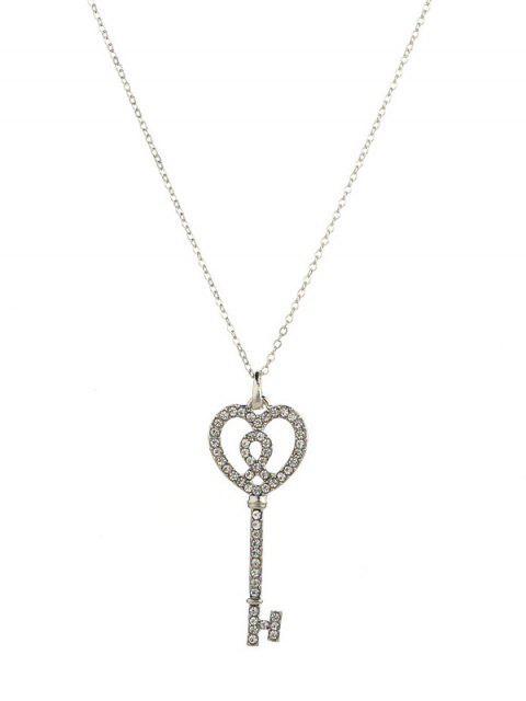 Горный хрусталь Сердце Ключ С подвеской Ожерелье - Серебряный  Mobile