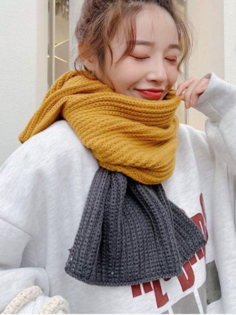 Зимний Вязаный Шарф Цветной блок - Золотисто-коричневый  Mobile