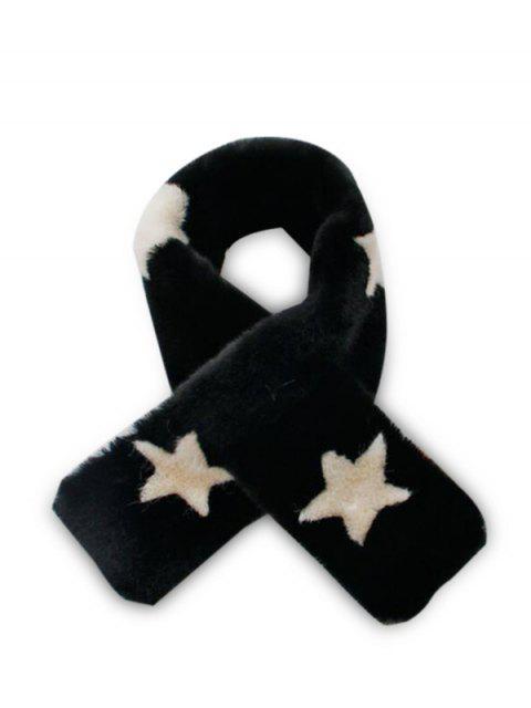 Принт звезды Искусственный мех Шарф - Чёрный  Mobile