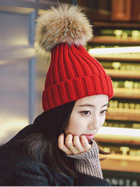 冬季固簡單泡泡龍帽子 - 紅  Mobile