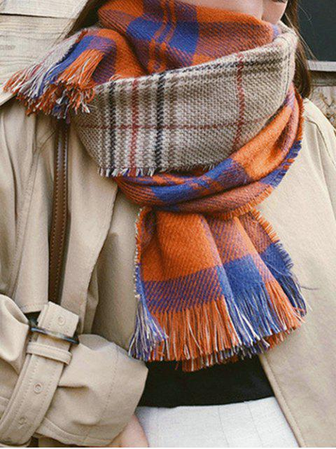 online Plaid Pattern Reversible Fringe Scarf - CHOCOLATE  Mobile