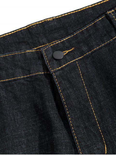 刺繡設計拉鍊拉開休閒牛仔褲 - 黑色 42 Mobile