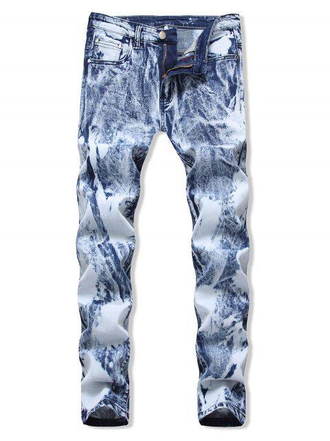 Lässige Bedruckte Jeans mit Reißverschluss - Helles Blau 40 Mobile