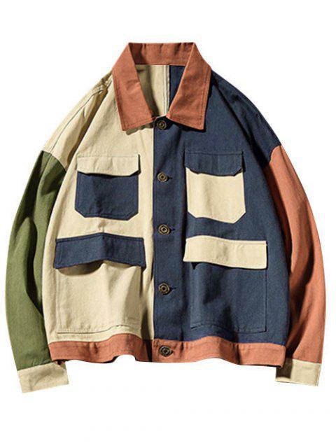 Farbblock Gespleißte Tasche Cargo Jacke - Khaki 2XL Mobile