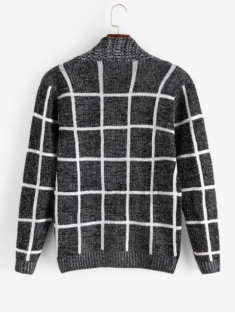方格幾何圖形按鈕針織外套 - 黑色 S Mobile