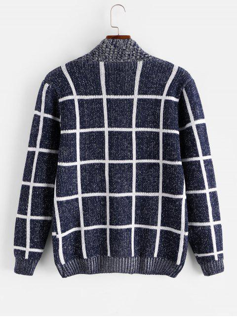 方格幾何圖形按鈕針織外套 - 藍色 S Mobile