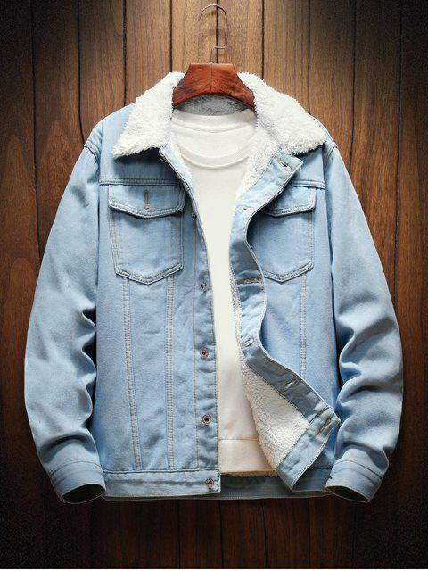 outfit Faux Shearling Lined Button Up Denim Jacket - LIGHT BLUE L Mobile