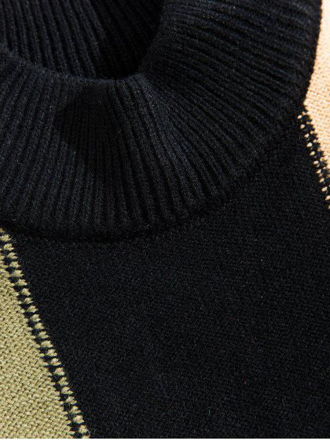 色彩拼接休閒圓領毛衣 - 黑色 2XL Mobile