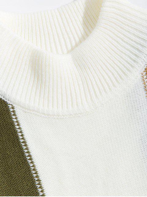 色彩拼接休閒圓領毛衣 - 白色 M Mobile